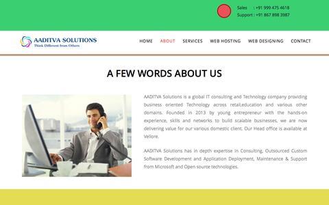 Screenshot of About Page aaditva.com - Aaditva Solutions - captured Feb. 5, 2016