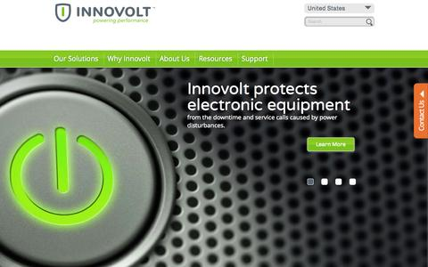 Screenshot of Home Page innovolt.com - Intelligent Electronics Protection - captured Jan. 14, 2015