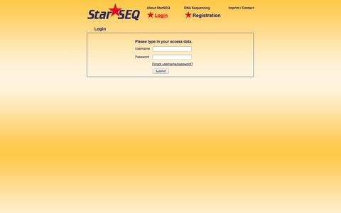 Screenshot of Login Page starseq.com - Starseq - captured Oct. 7, 2014