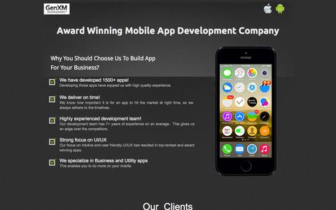 Screenshot of Landing Page genxm.com - One Of Top Mobile Application Development Companies - captured Dec. 9, 2015