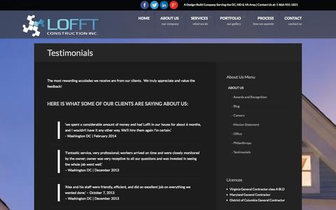 Screenshot of Testimonials Page lofftconstruction.com - Lofft Construction Inc | Design Build Company |  Testimonial - captured Oct. 2, 2014