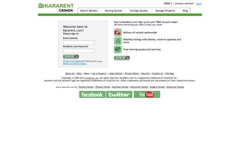 Screenshot of Login Page kararent.com - Apartments & Homes for Rent - kararent.com� Apartment Finder - captured Sept. 30, 2014
