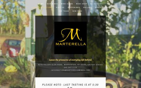 Screenshot of Hours Page marterellawinery.com - Hours & Directions — Marterella Winery - captured Oct. 5, 2014