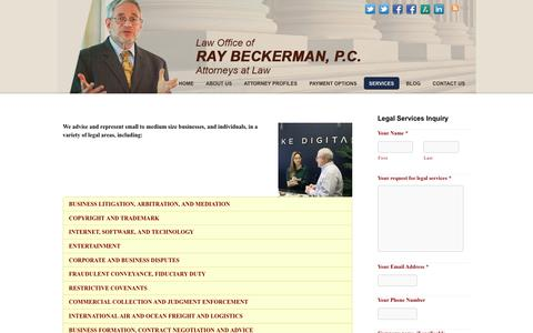 Screenshot of Services Page beckermanlegal.com - Services - Law Office of Ray Beckerman, P.C. - captured Oct. 18, 2018