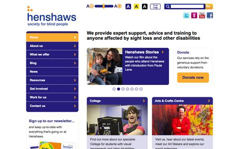 Screenshot of Home Page henshaws.org.uk - Henshaws Society for Blind People | A charity for the visually impaired - captured Oct. 2, 2014