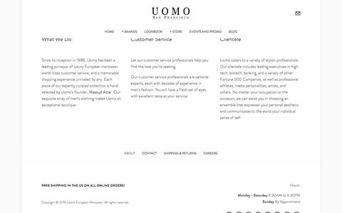 About — Uomo San Francisco | Designer European Luxury Menswear and Accessories