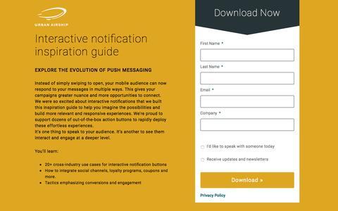 Interactive push notification inspiration guide