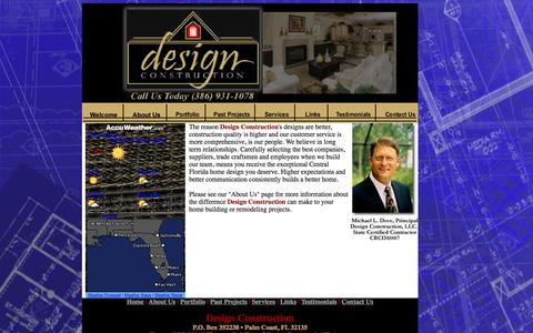 Screenshot of Home Page designconstructionfla.com - Design Construction - captured Oct. 5, 2014