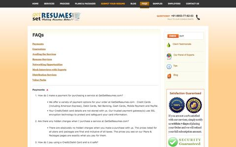 Screenshot of FAQ Page getsetresumes.com - Service Delivery FAQs - captured Oct. 5, 2014