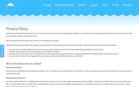 Screenshot of Privacy Page icetheme.com - Privacy Policy - captured Aug. 5, 2016