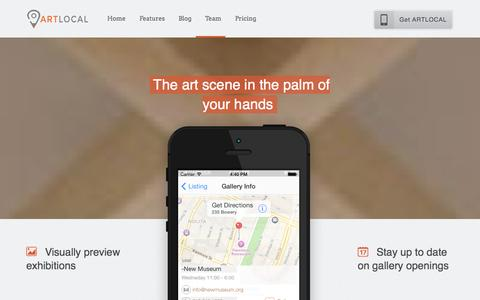 Screenshot of Home Page Blog Team Page Pricing Page artlocalapp.com - Art Galleries NYC | Art Apps | Art local | New York Art Galleries - captured Sept. 30, 2014