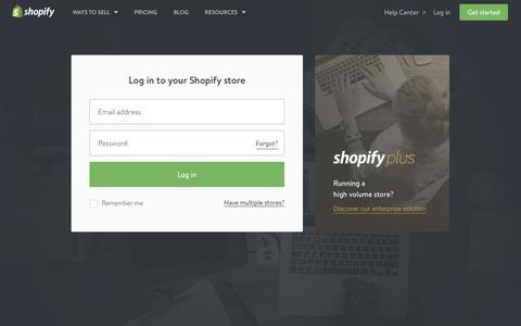 Screenshot of Login Page shopify.com - Login — Shopify - captured Aug. 21, 2016