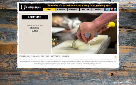 Screenshot of Menu Page unionsocial.ca - Menu   Union Social Eatery - captured Oct. 6, 2014