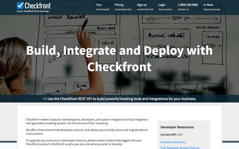 Screenshot of Developers Page checkfront.com - Checkfront Free Developer Account - captured Oct. 30, 2014