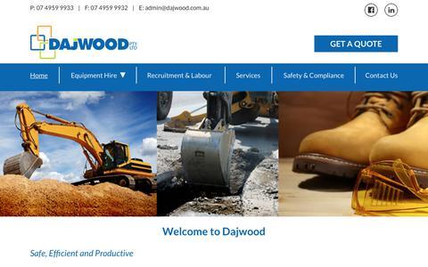 Screenshot of Home Page dajwood.com.au - Plant Hire | Recruitment Services | Dajwood - captured Oct. 7, 2018
