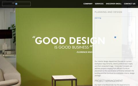 Screenshot of Services Page corporateconceptsofsc.com - Planning and Design   Corporate Concepts - captured Oct. 28, 2014