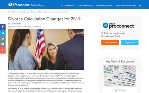 Screenshot of Press Page intuit.com - Divorce Calculation Changes for 2019 | Tax Pro Center | Intuit ProConnect - captured Nov. 21, 2019