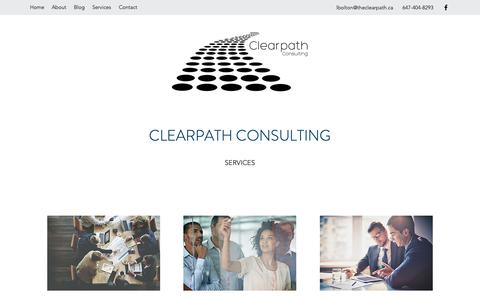 Screenshot of Services Page theclearpath.ca - Services | Clearpath Consulting | business efficiency | start-up - captured Sept. 28, 2018