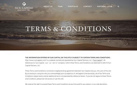 Screenshot of Terms Page suncappart.com - Terms   Sun Capital Partners - captured June 24, 2017