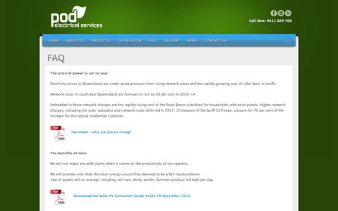 Screenshot of FAQ Page podelectrical.com.au - Common Solar Questions - captured Oct. 7, 2014