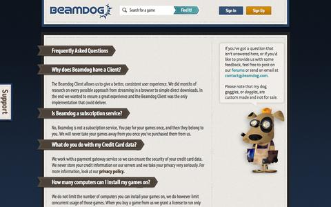 Screenshot of FAQ Page beamdog.com - FAQ - captured Sept. 25, 2014