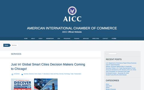 Screenshot of Services Page aiccus.org - Services | American International Chamber of Commerce - captured Nov. 20, 2016
