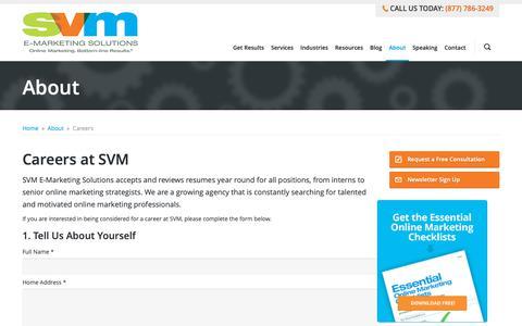 Screenshot of Jobs Page svmsolutions.com - Careers at SVM   SVM E-Marketing Solutions - captured Sept. 27, 2018