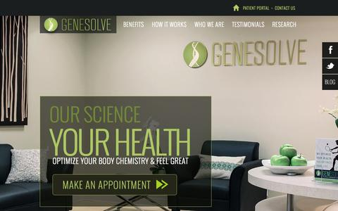 Screenshot of Home Page gene-solve.com - Boost Energy. Enhance Focus. Lose Weight. Feel Great Again. | Genesolve - captured Sept. 29, 2014
