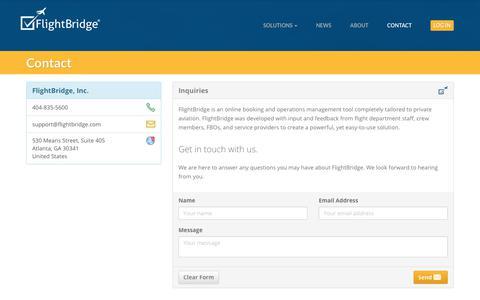 Screenshot of Contact Page flightbridge.com - Contact FlightBridge - captured Aug. 15, 2018