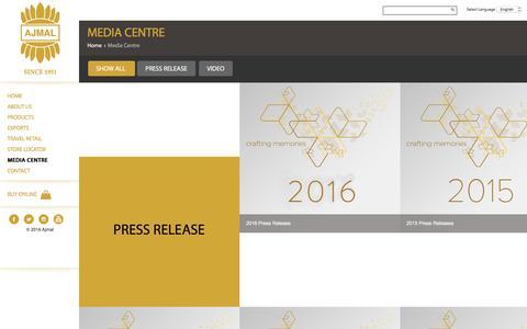 Screenshot of Press Page ajmalperfume.com - Media Centre- Ajmal Perfume UAE - captured Sept. 14, 2016