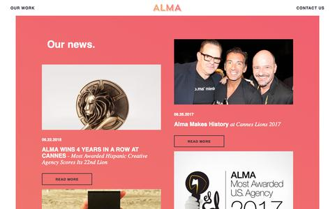 Screenshot of Press Page almaad.com - News | Alma Agency - captured Oct. 3, 2018