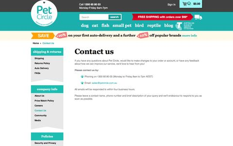 Screenshot of Contact Page petcircle.com.au - Contact Us | Pet Circle - captured Feb. 26, 2016