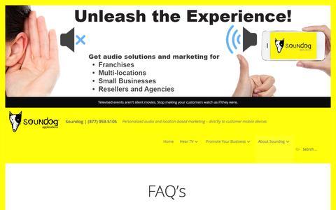 Screenshot of FAQ Page mysoundog.com - FAQ's – Soundog   (877) 959-5105 - captured Feb. 15, 2016