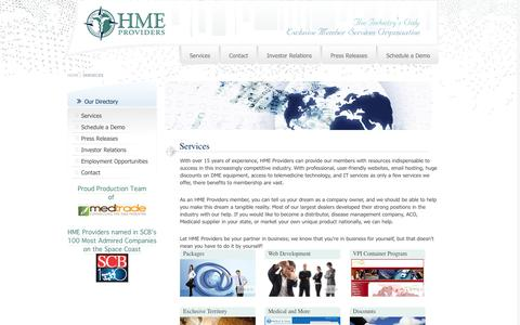 Screenshot of Services Page hmeproviders.com - Services - captured Oct. 28, 2014