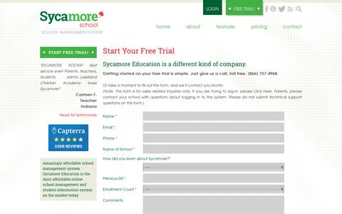 Screenshot of Trial Page sycamoreschool.com - Start Your Free Trial | Sycamore School - captured Nov. 3, 2018