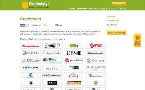 Screenshot of Case Studies Page shopsocially.com - Customers and Testimonials | Social Platform, Social Apps | ShopSocially - captured Sept. 17, 2014