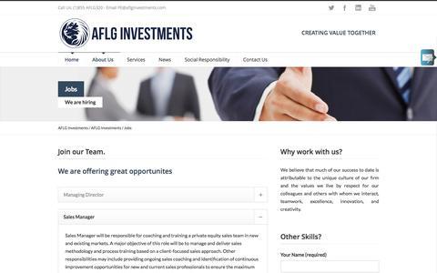 Screenshot of Jobs Page aflginvestments.com - AFLG Investments Jobs – AFLG Investments - captured Nov. 20, 2016