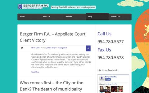 Screenshot of Blog bergerfirm.com - Berger Firm, P.A. Attorneys at law serving South Florida and surrounding areas - captured Oct. 5, 2014