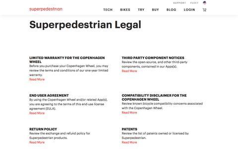 Screenshot of Terms Page superpedestrian.com - Legal - Main Page   Superpedestrian - captured Sept. 19, 2018