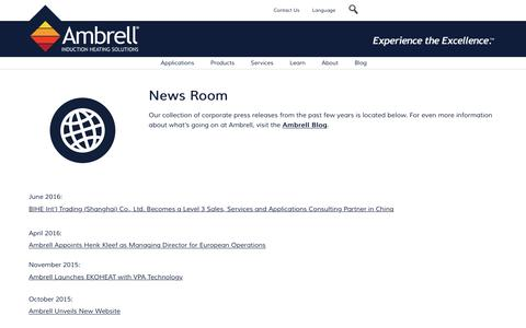 Screenshot of Press Page ambrell.com - Newsroom - captured Aug. 28, 2016