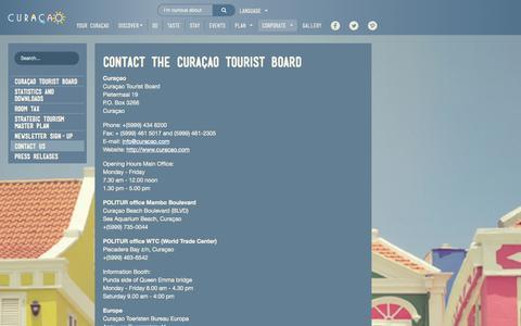 Screenshot of Contact Page curacao.com - Contact Us - captured Nov. 2, 2014