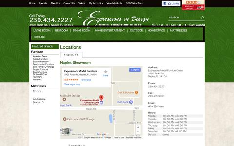 Screenshot of Contact Page Locations Page emfo.us - Contact Expressions Model Furniture Outlet in Florida - captured Sept. 15, 2017