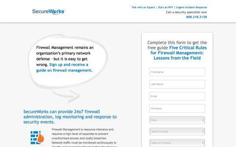 Screenshot of Landing Page secureworks.com - Firewall Management   SecureWorks - captured Nov. 3, 2016