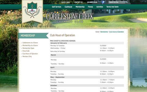 Screenshot of Hours Page cobblestonecreekcc.com captured Oct. 2, 2014
