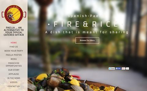 Screenshot of Home Page fireandrice.us - Fire and Rice Paella - captured June 18, 2015
