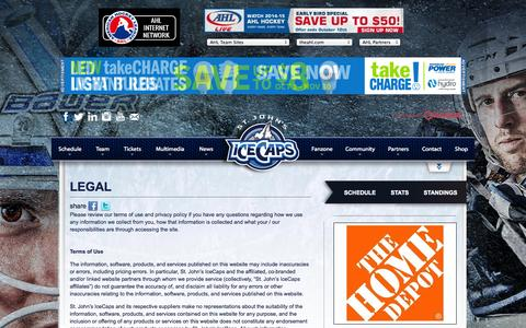 Screenshot of Terms Page stjohnsicecaps.com - Legal | St. John's IceCaps | AHL - captured Oct. 7, 2014