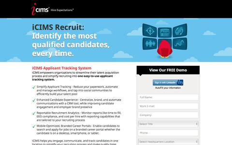 Screenshot of Landing Page icims.com - Applicant Tracking Software | Recruitment Software | iCIMS Talent Acquisition Suite - captured July 13, 2016