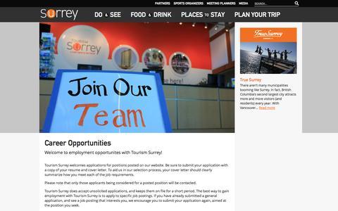 Screenshot of Jobs Page tourismsurrey.com - Career Opportunities | Tourism Surrey | Tourism Surrey - captured Oct. 7, 2014