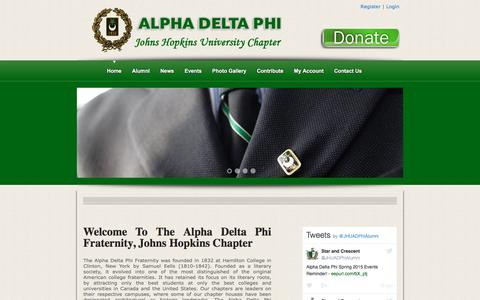 Screenshot of Login Page jhualphadeltaphi.com - JHU Alpha Delta Phi | Welcome to the Johns Hopkins Chapter of the Alpha Delta Phi - captured Dec. 2, 2016