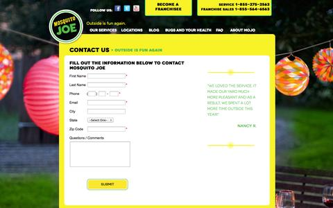 Screenshot of Contact Page mosquitojoe.com - Contact Us - captured Oct. 7, 2014
